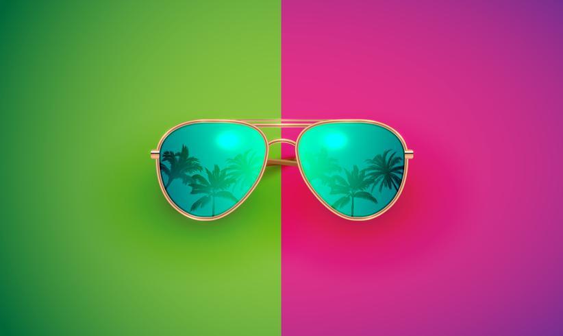 Realistische vectorzonnebril op een kleurrijke achtergrond, vectorillustratie