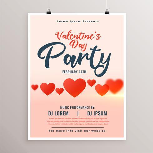 valentines day party flyer med röda hjärtan