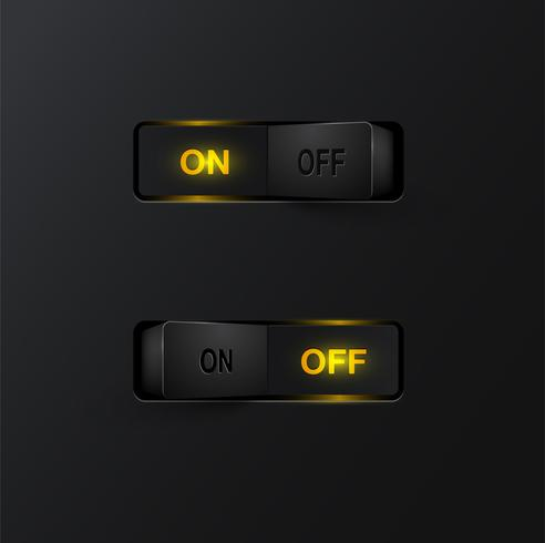 Realistic black switches (ON/OFF) on black background, vector illustration