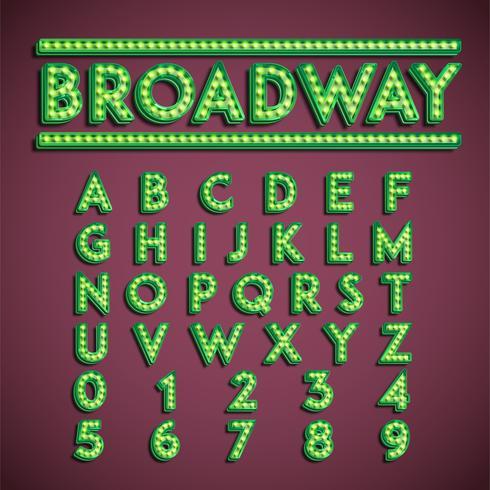 Conjunto de fuentes 'Broadway' con lámparas, ilustración vectorial