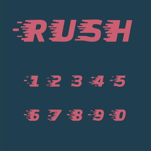 Conjunto de caracteres 'Rush', ilustración vectorial