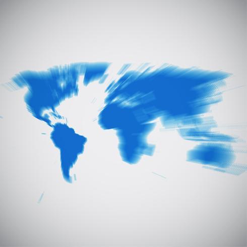 Mapa del mundo centrado en América del sur, ilustración vectorial