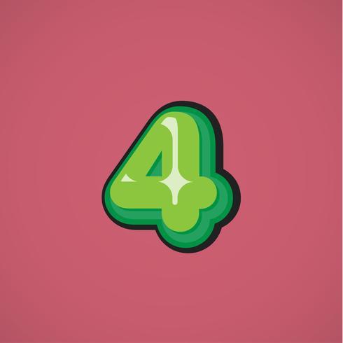 Grüne Comicfigur von einem fontset, Vektorillustration