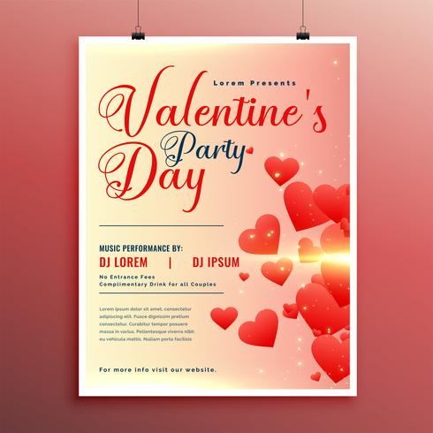 valentines day celebration flyers design template