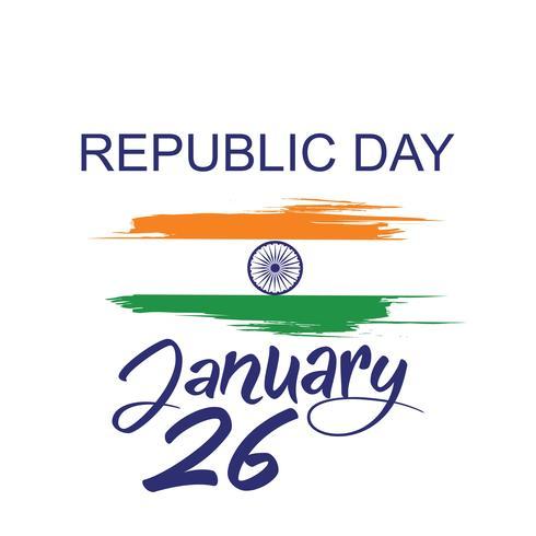 Conceito de dia da República da Índia com texto 26 de janeiro