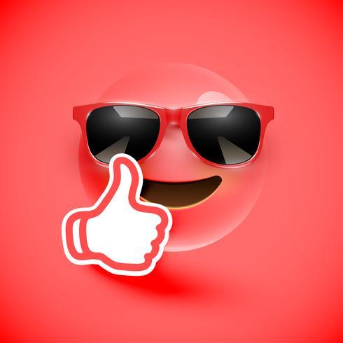 Realistische emoticon met omhoog zonnebril en duimen, vectorillustratie
