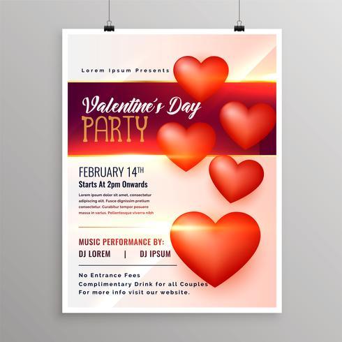 Happy Valentines Day Event Flyer Entwurfsvorlage