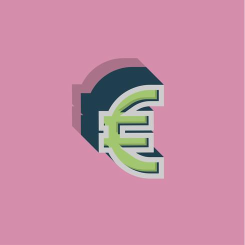 Retro 3D-personage uit een lettertype, vectorillustratie