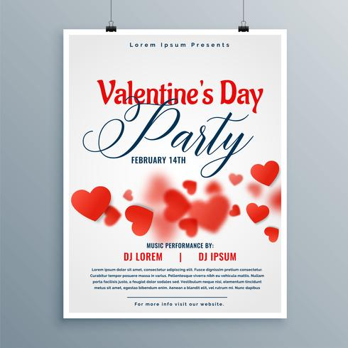 vacker valentin dag party flyer design