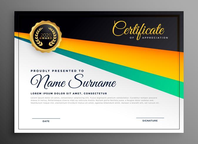 elegante certificato di modello di apprezzamento