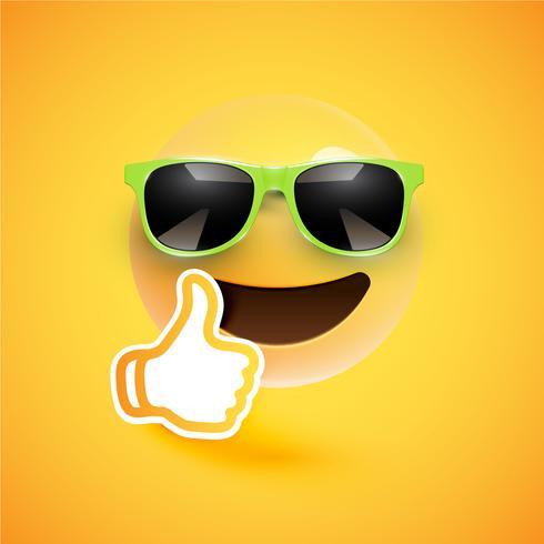 Emoticon realista con gafas de sol y pulgares arriba, ilustración vectorial