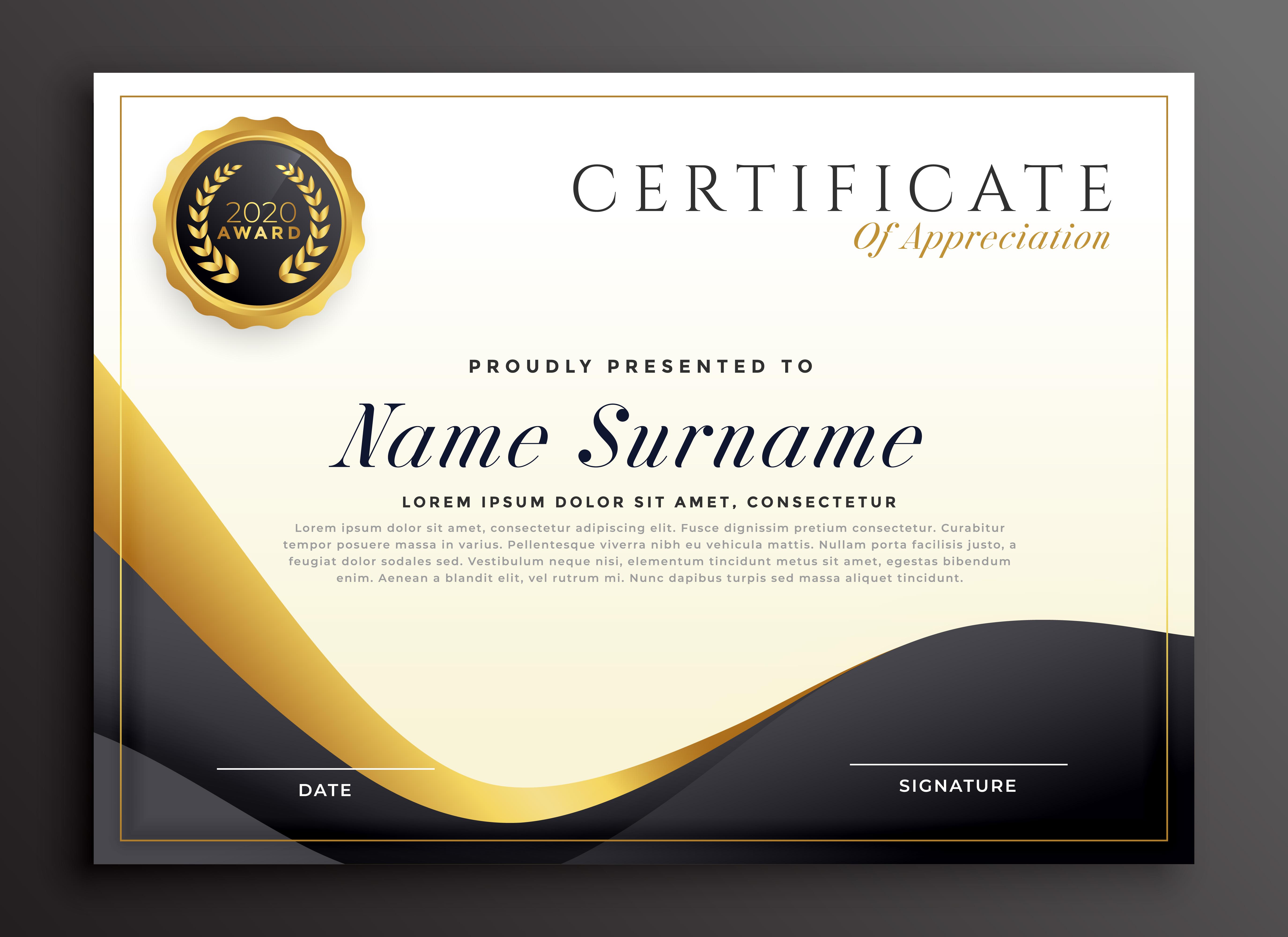 luxury certificate of appreciation template