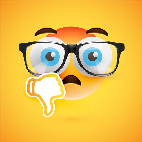 Emoticon con i pollici in basso, illustrazione vettoriale