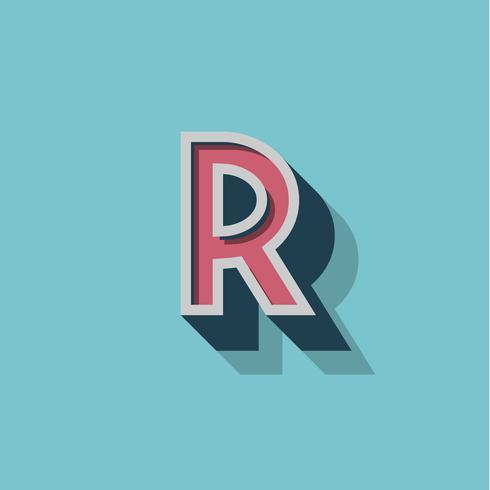 Retro- Zeichen 3D von einem fontset, vektorabbildung