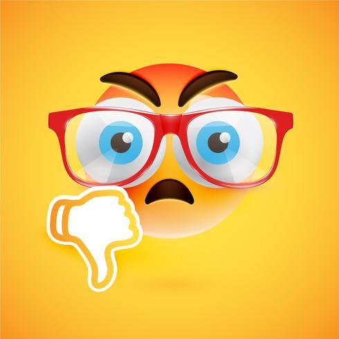 Emoticon com os polegares para baixo, ilustração vetorial vetor