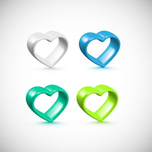 Insieme variopinto della struttura del cuore 3D, vettore