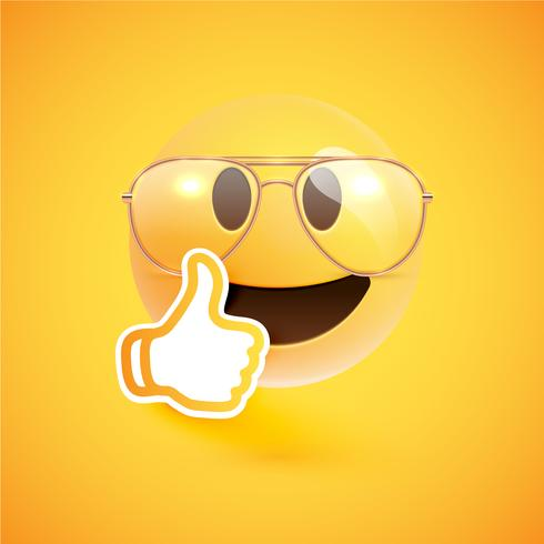 Realistic emoticon with eyeglasses and thumbs up, vector illustration