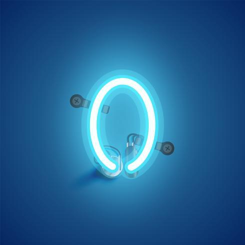 Personagem de néon azul realista com fios e console de um fontset, ilustração vetorial