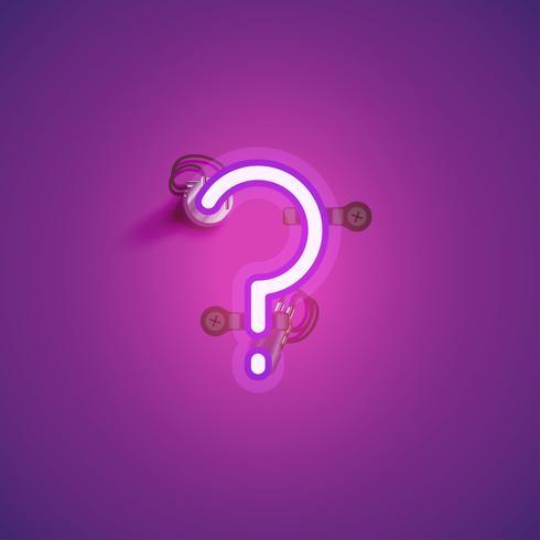 Personagem de néon realista rosa com fios e console de um fontset, ilustração vetorial