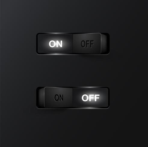 Interrupteurs noirs réalistes (ON / OFF) sur fond noir, illustration vectorielle