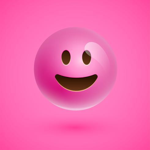 Smiley realistico emoticon rosa faccia, illustrazione vettoriale