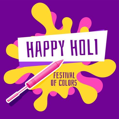 happy holi festival greeting with pichkari and color splash