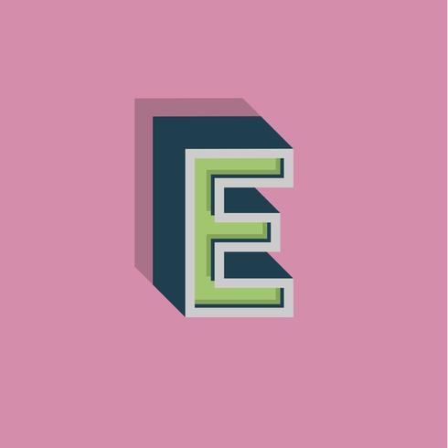 Retro 3D-personage uit een lettertype, vectorillustratie vector