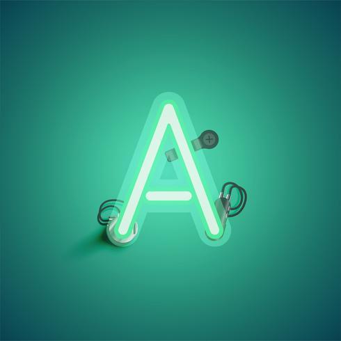 Personagem de néon verde realista com fios e console de um fontset, ilustração vetorial