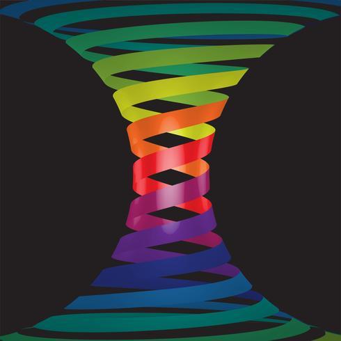Linee colorate in 3D su sfondo nero, illustrazione vettoriale