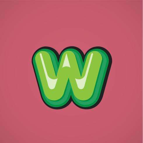 Carácter cómico verde de un conjunto de fuentes, ilustración vectorial