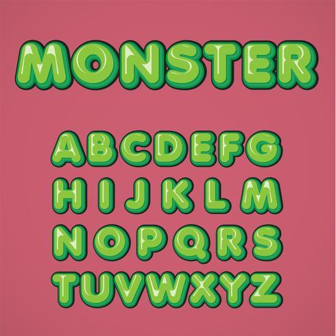 Conjunto de caracteres em quadrinhos verde de um typeset, ilustração vetorial
