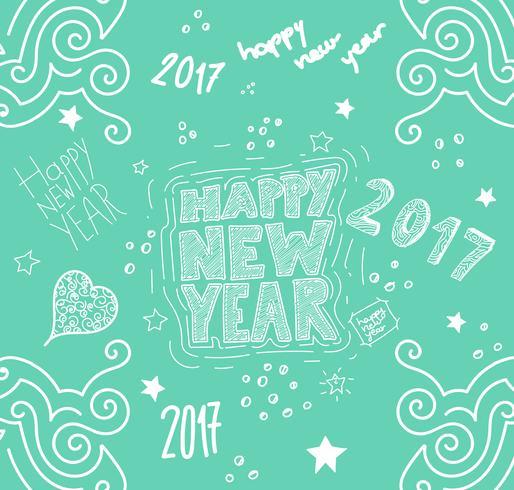 'Feliz año nuevo' dibujado a mano ilustración, vector