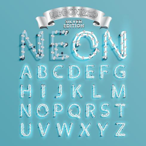 Fonts de police de néon avec pin de décoration de Noël, illustration vectorielle