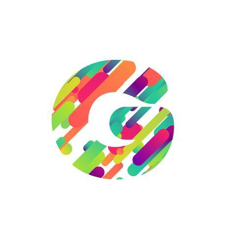 Colorido personaje de una tipografía, ilustración vectorial