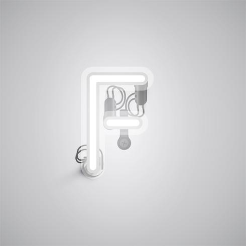 Personagem de néon realista cinza com fios e console de um fontset, ilustração vetorial