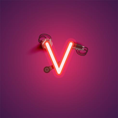 Personagem de néon vermelho realista com fios e console de um fontset, ilustração vetorial