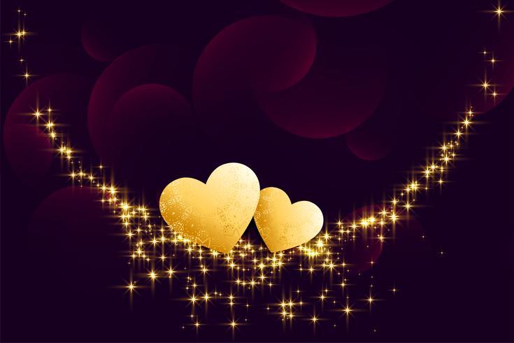 Corazones dorados con destellos sobre fondo oscuro