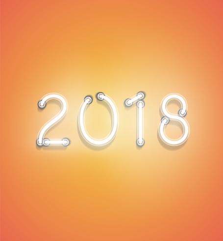 '2018' - Realistic neon sign, vector illustration