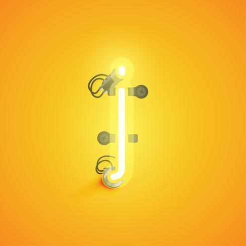 Personagem de néon realista amarelo com fios e console de um fontset, ilustração vetorial