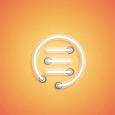 Icône néon réaliste rougeoyant pour le web, illustration vectorielle