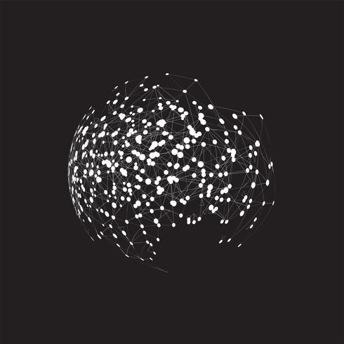Globo del mundo sobre un fondo negro, ilustración vectorial