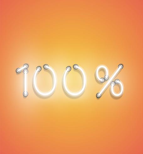 Segno di percentuale al neon realistico, illustrazione vettoriale
