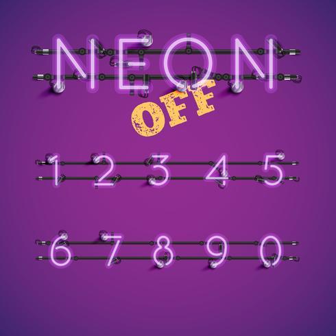 Conjunto de caracteres de neón realista amarillo con cables y consola, ilustración vectorial vector