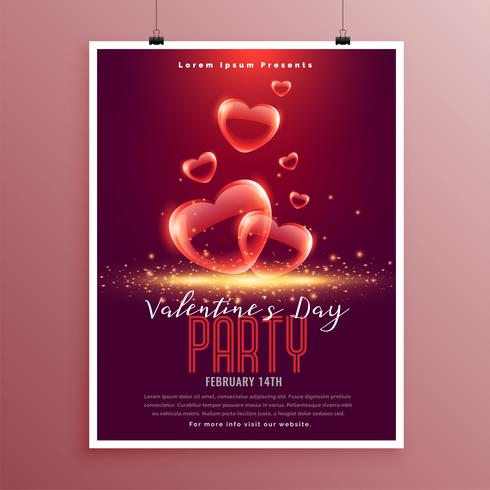 härlig valentin dag bubbla hjärtan flygblad mall