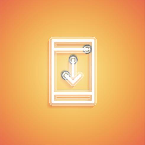 Ícone de néon realista brilhante para web, ilustração vetorial