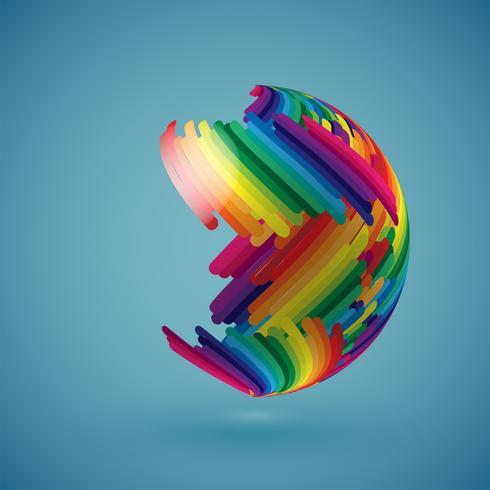 Kleurrijke realistische wereldbol met schaduwrijke oppervlak, vectorillustratie