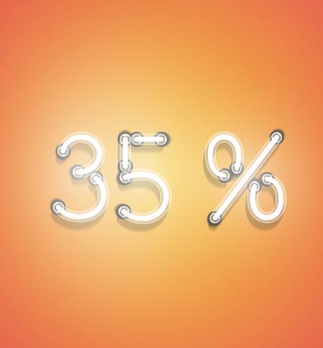 Signo de porcentaje de neón realista, ilustración vectorial vector