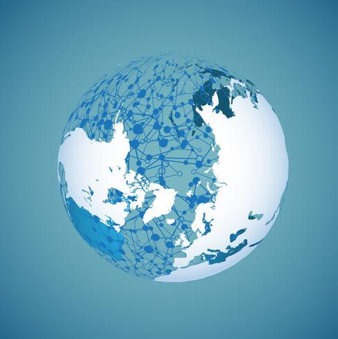 Globo del mondo su uno sfondo blu, illustrazione vettoriale