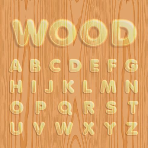 Madeira texturizada conjunto de fontes, ilustração vetorial