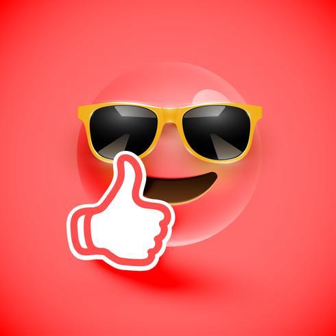 Émoticône réaliste avec lunettes de soleil et pouce en l'air, illustration vectorielle